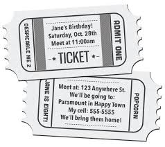 movie ticket birthday invitations printable free download