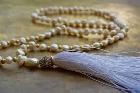bridal beads necklace images Wedding mala white and gold bohemian necklace pearl and gold jpg