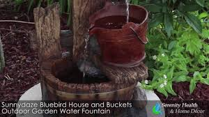 Blue Bird Home Decor Sunnydaze Bluebird House And Buckets Outdoor Garden Water Fountain
