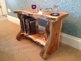 Decorative Wooden Shelf Edging Rustic Hand Made Live Edge English Yew Bark Wood Coffee Table Side