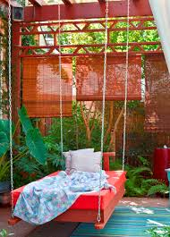 exterior comfortable terrace with porch swing bed plans red