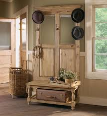 rustic natural wooden design with simple hooks and mirrors design
