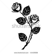 rose tattoo black silhouette branch flowers stock vector 444526906