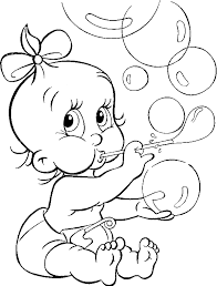 cute blowing bubble balloons coloring kids baby