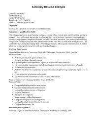 Cover Letter For Secretary Position Resume For Nanny Resume Cv Cover Letter Secretary Job Description