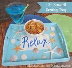 themed serving tray diy seashell serving tray partying with the crafts