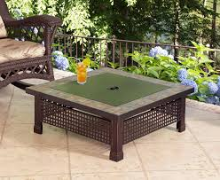 Patio Tables With Fire Pit Amazon Com Pleasant Hearth Bradford Square Natural Slate 34 Inch
