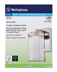 westinghouse skyview one light led outdoor wall fixture brushed