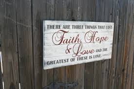 wood sign faith hope and love pallet sign christian shabby chic