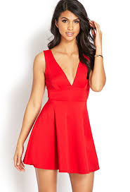 fit and flare dress forever 21 forever 21 v cut fit flare dress in lyst