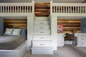 Scoop Bunk Bed Built In Desk With Plank Walls Loft Bed Transitional