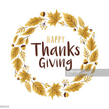 happy thanksgiving day greeting card with golden leaves vector