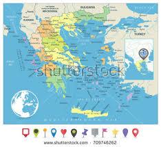 greece map political greece political map no text detailed stock vector 709746253
