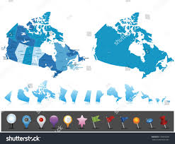 Canada Map Labeled by Canada Highly Detailed Map Elements Separated Stock Vector