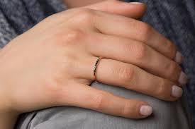 black diamond band black diamond band stackable 14k gold ring black