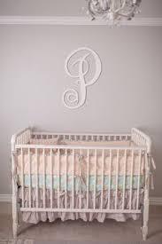 Shabby Chic Crib Bumper by Baby Peach Crib Bedding Set Floral Nursery Bedding Peach