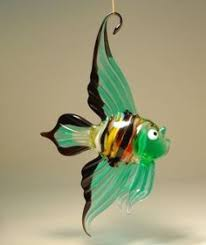 blown glass fish sculpture turquoise by kevinfultonglass