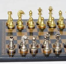 metal and brass chess set 65m 204gn newcentco board games