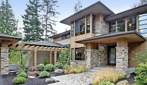 contemporary prairie style house plans the modern home style and function elevation plan front