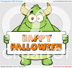 happy halloween background png clipart of a cartoon chubby green horned monster holding a happy
