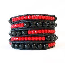 red wrap bracelet images Red and black leather wrap bracelet onsra designer bracelets jpg