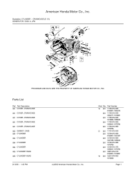 american honda motor co inc honda e300 illustrated parts list