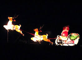 flying santa and reindeer outdoor decoration reindeer and sleigh