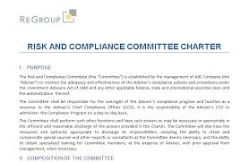 free tool risk and compliance committee charter u2014 regroup llc