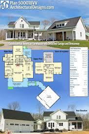 best ideas about car garage pinterest plan quintessential american farmhouse with detached garage and breezeway