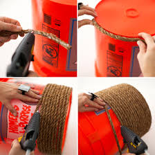 recycled home decor projects wrap an orange bucket in to make the base for a mini ottoman