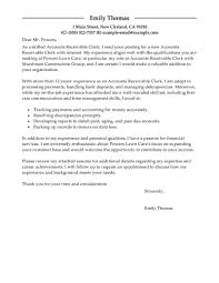 Cover Letter For Chartered Accountant Leading Professional Accounts Receivable Clerk Cover Letter
