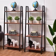 2 pcs 4 tier modern ladder bookshelf bookcases u0026 standing