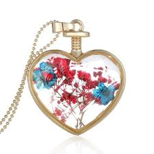 red necklace pendant images Red and blue flower crystal glass heart pendant necklace jewelry jpg