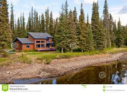 house in forest by river royalty free stock photo image 11277285