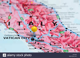 Rome On World Map Rome Pinned On A Map Of Italy Stock Photo Royalty Free Image