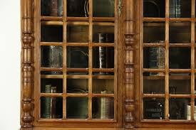 French Antique Bookcase Oak Hand Carved French Antique Library Bookcase Beveled Glass