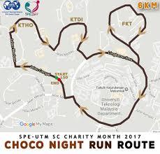 Map Running Route by Choco Night Run 2017 Just Run Lah