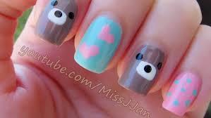 easy and cute mix u0026 match bear heart polka dots nail art