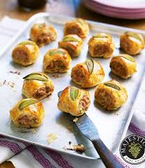 easy canapes sausage rolls delicious magazine