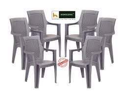 Nilkamal Kitchen Furniture Nilkamal Mystique Chair Set Of 6 Charcoal Grey Homegenic