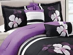 purple black and white comforter set floral bed in a bag king