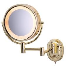 jerdon 14 5 in l x 9 75 in lighted wall mirror in bright brass
