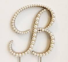 pearl cake topper pearl monogram wedding cake topper font 4 wood