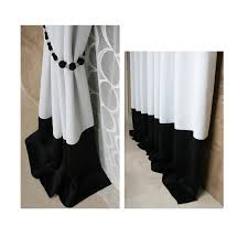 Black And White Blackout Curtains Modern Style White And Black Polyester Artificial Fiber Blend