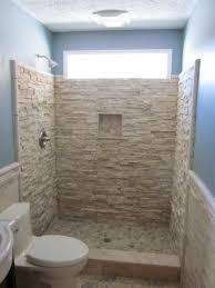 snatural stone shower stall without door combined with wall mount