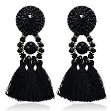 black dangle earrings emanco black boho statement earrings for women big
