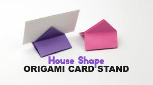 origami square house shaped card stand tutorial diy