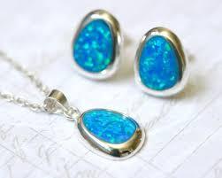 opal earrings stud opal jewelry set pear opal earrings pear opal necklace gemstone