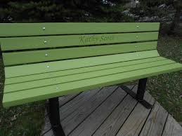 bench rainbow vibrant colors recycled plastic lumber solid steel