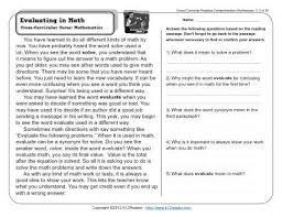 evaluating in math 3rd grade reading comprehension worksheet